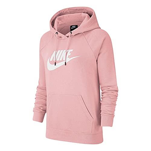 Nike Sudadera con capucha para mujer Sportswear Essential BV4126, color: rosa, talla: M, artículo: 632 rosa brillante y blanco