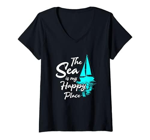Mujer The Sea is my Happy Place - velero marinero ropa Camiseta Cuello V