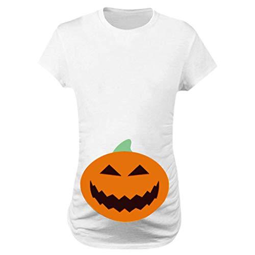 Allence Halloween Lustige witzige süße Umstandsmode | Umstandsshirt mit Motiv für die Schwangerschaft | T-Shirt Schwangerschaftsshirt, Kurzarm, Baumwolle Schwangerschaft Top(Kürbis-Muster)