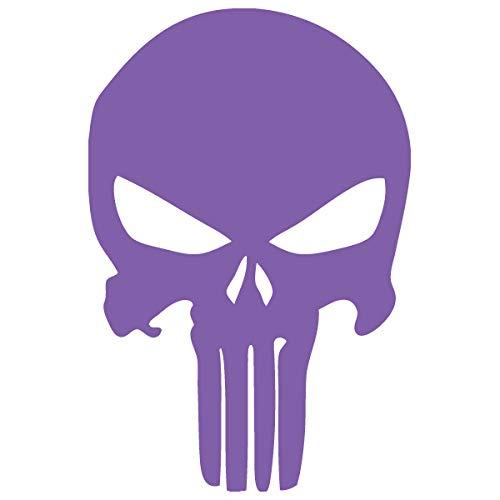 Punisher Skull Car Window Vinyl Decal Sticker (PR-02) (Lavender, 10 inches x 6.6 inches)