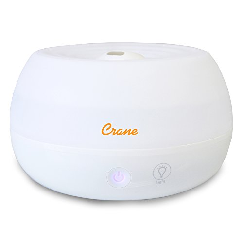 Crane Personal Ultrasonic Cool Mist Humidifier and Aroma Therapy Diffuser, for Home Bedroom Hotels Travel and Office, 0.2 Gallon, Filter Free, White