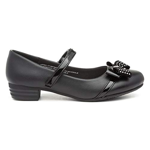 Lilley Girls Black Easy Fasten Shoe with Bow - Size 13 Child UK - Black