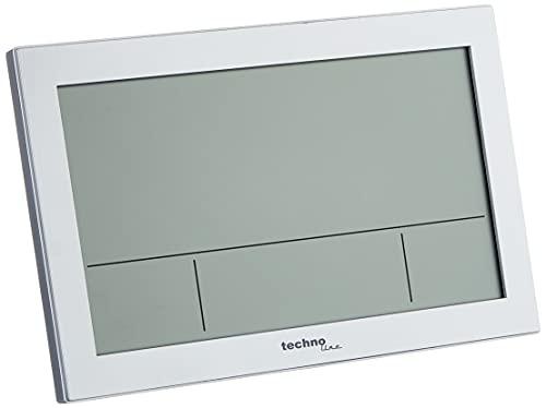 Technoline WS8016 WS 8016 - Reloj de pared inalámbrico con indicador de temperatura, plástico, color plateado, 225 x 143 x 24 mm