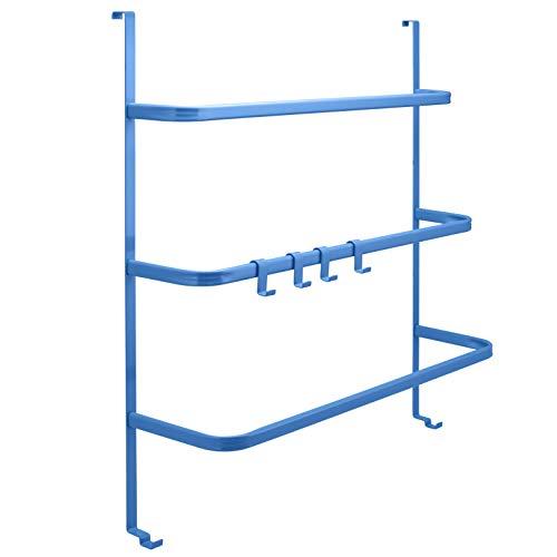 bremermann® Tür-Hängeregal, Tür-Handtuchhalter mit 4 praktischen Haken (marina blau)