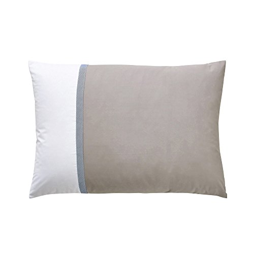Essix - Taie d'oreiller Toi & Moi Escale Percale de Coton Meringue/Taupe 50 x 70 cm