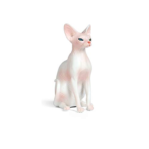 Hiawbon Resin Hairless Cat Pink Hairless Cat Figurine Sphynx Hairless Cat Sitting Hand Painted Statue FigurineRealistic Pet Model Figures for Room Decoration Collections Birthday Gift (Pink)