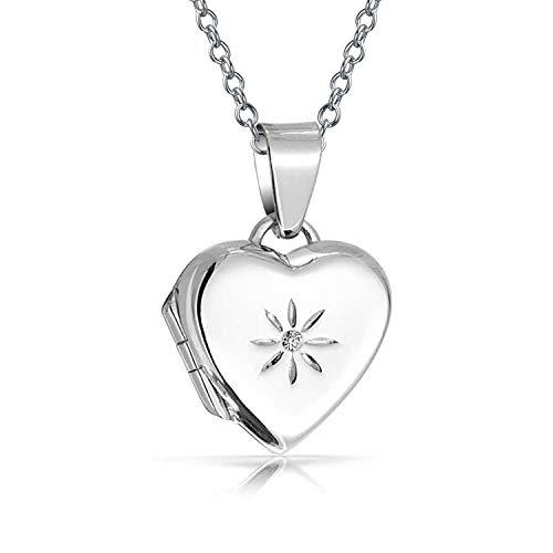 Bling Jewelry Petit Collier Médaillon CZ Qui Contient Les Photos pour Les Femmes De Coeur Fleur Gravée des Pendentif