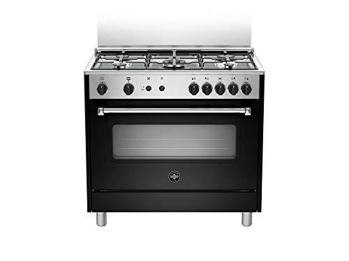 La Germania Serie Americana - Cucina con forno a gas ventilato, 90x60 cm, colore Nero