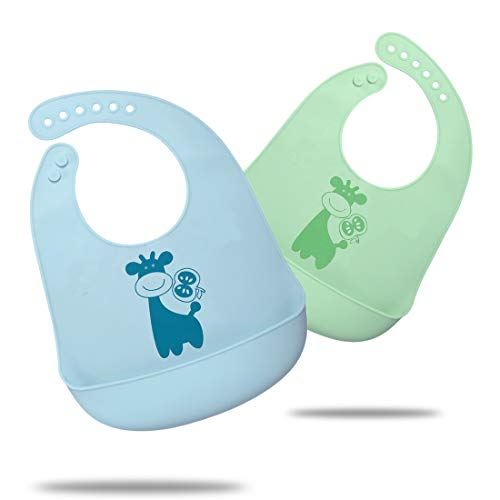 Waterproof Silicone Bib for Babies & Toddlers, Comfortable Soft Baby Bibs for Girls and Boys, 6-72 Months, 2-Pack (2-blue/green giraffe)