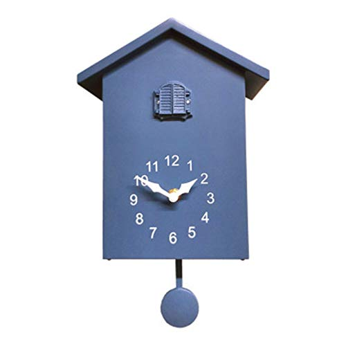 YaGFeng Relojes de Cuco Reloj de Pared de Reloj de Cuco Reloj de Cuco con pájaro Cuco Chime decoración casera Cuarzo péndulo Reloj (Color : Azul, Size : 10 Inches)