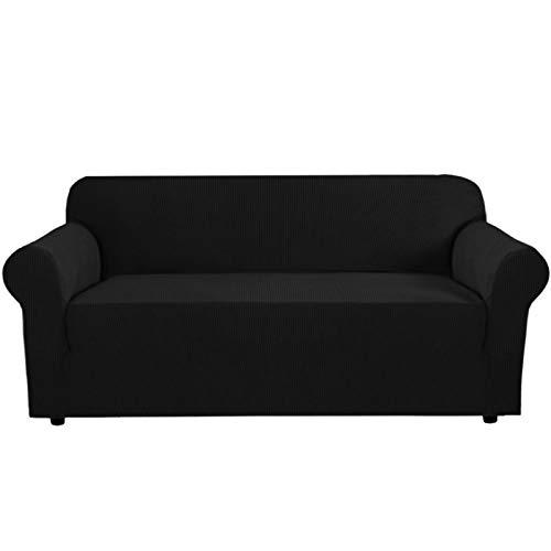 GD-TEX Bank Cover Stretch Sofa Cover met anti-slip schuimen, 1 stuk Sofa Slipcover voor woonkamer Meubelhoezen met elastische bodem Machine Wasbaar (Sofa Slipcover, zwart)