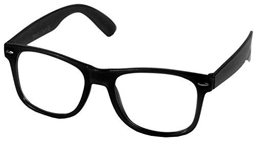 Oramics Hornbrille ohne Stäke für Frauen und Männer Nerdbrille Retro Brille (1x Schwarze Nerd Brille)