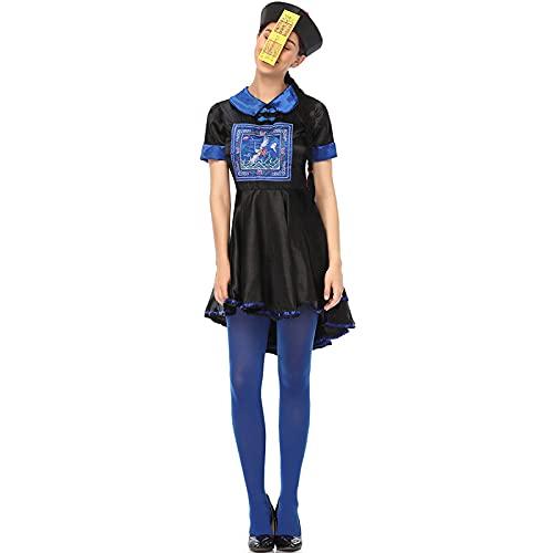 LIZHOUMIL Disfraz de Halloween zombie zombi, 3 piezas, disfraz de Halloween espeluznante zombi, disfraz de dinastía china Qing, disfraz de Halloween para niña, talla L