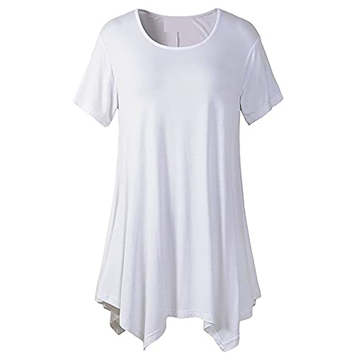 Camiseta De Manga Corta De Longitud Media para Mujer Cuello Redondo Suelto Color Sólido Talla Grande Camiseta De Verano