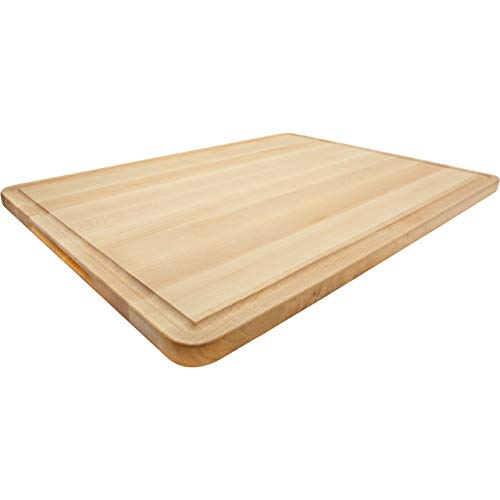 Wood Cutting Board Extra Large Maple 18x24 Inch Reversible with Handles and Juice Groove, Thick Butcher Block Chopping Board Carving Cheese Charcuterie Serving Handmade by AzrHom (Bonus Gift Box)
