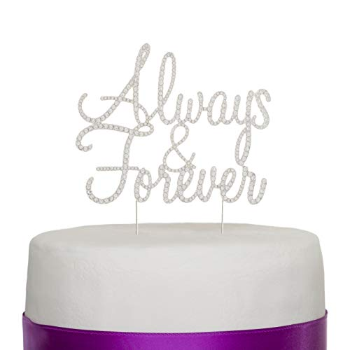 Ella Celebration Always and Forever Wedding Cake Topper, Silver Romantic Rhinestone Decoration (Always & Forever) (Silver)