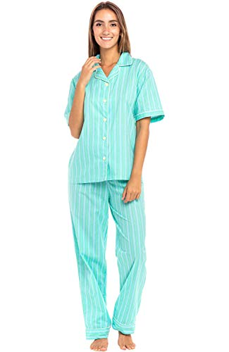 Alexander Del Rossa Women's Lightweight Button Down Pajama Set, Short Sleeved Cotton Pjs, Medium Green Striped (A0518V07MD)