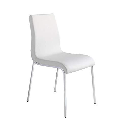 Angel Cerdá | Sedia da pranzo rivestita in similpelle, gambe in acciaio cromato, stile moderno