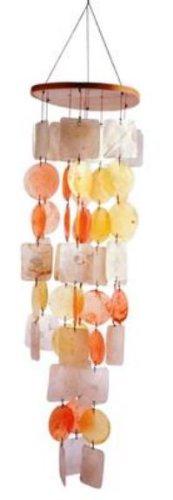 Feng Shui Mobile Muschel Windspiel Perlmutt gelb orange ca. 75cm