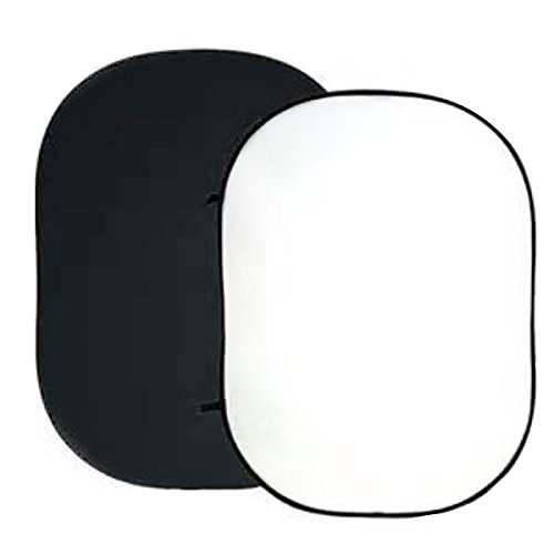 Bresser BR-3 Faltbarer Hintergrund 180 x 240 cm 2-seitig schwarz/weiß mit Klettverschluss-Schlaufen zum Aufhängen und biegsamen Rahmen zum Falten aus 100% Baumwolle