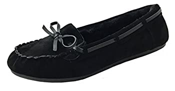 Womens Faux Soft Suede Fur Lined Moccasin House Slippers  Moccasin-21  Black 7.5