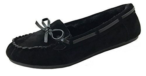 Runs Small - Faux Soft Suede Fur Lined Moccasin House Slippers (Moccasin-21) Runs Small Black, 9