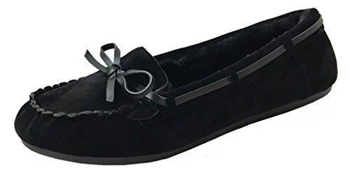 Women' Faux Soft Suede Fur Lined Moccasin Loafer Slippers (Mocassin-21) Black, 8.5