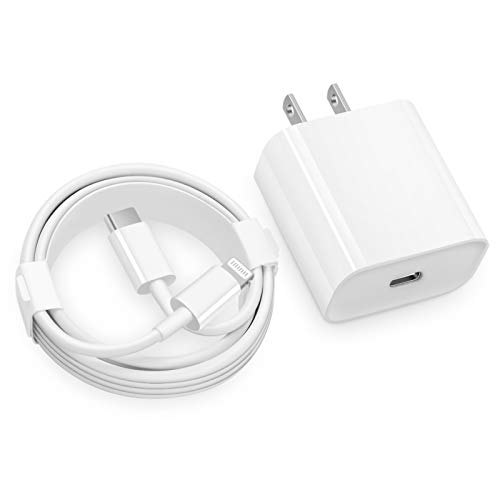 USB C Fast Charger -MFi Certified - 20W PD Fast Charger with 6FT C to Lightning Cable Type C Charger Adapter for iPhone 12/12 Mini/12 Pro/12 Pro Max/11 Pro Max/XS Max/XS/XR/X,iPad Pro