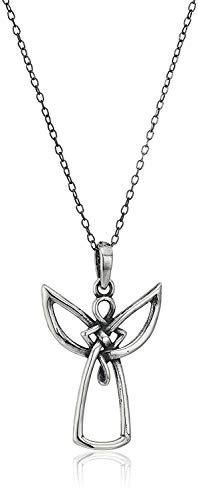 925 Sterling Silver Oxidized Celtic Knot Angel Pendant Necklace, 18'