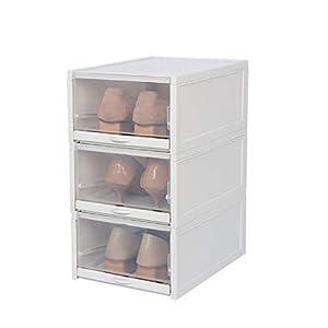 【3箱入り】シューズボックス 靴収納ボックス 家庭用透明引き出しタイプ折りたたみ積み重ね可能な仕上げ収納靴箱(大)
