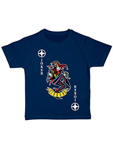 clothinx Kinder T-Shirt Bio Karneval & Fasching Spielkarte Joker Kostüm Navy/Bunt Größe 92