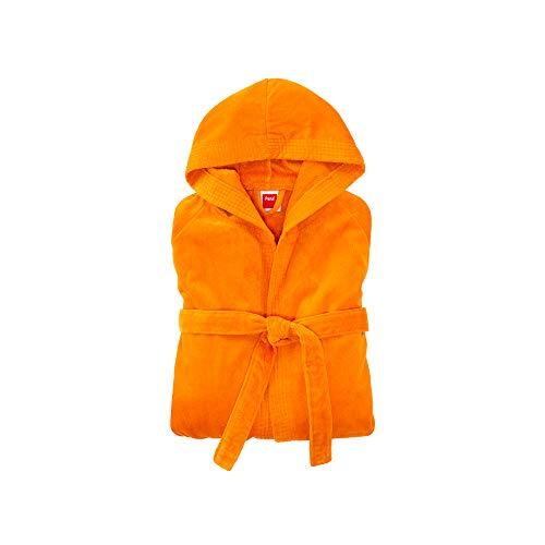 PANA Miami Velour Unisex Baumwolle Bademantel mit Kapuze • Saunamantel • Damen Bademantel • Herren Bademantel mit Kapuze • Bathrobe Men • weiches Material • Knielang • Größe: Medium • Farbe: Orange