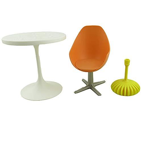 Barbie - Juego de piezas de repuesto para casa de muñecas de la serie Dreamhouse | FHY73 ~ Bolsa de muebles de repuesto – Contenido: silla de oficina, candelabro amarillo, mesa blanca y base de mesa