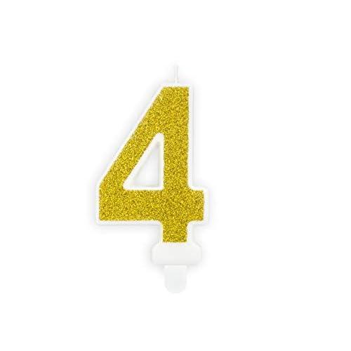PartyDeco Candelina Torta Numero 4 Quattro con Glitter Oro Compleanno Bambino Adulto
