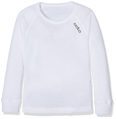 Odlo Long Sleeve Crew Neck Warm Camiseta, Infantil, Blanco, 116