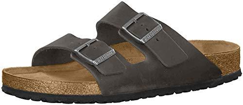BIRKENSTOCK Unisex Schuhe Damen und Herren Arizona SFB Edle Sandale aus hochwertigem Leder, weiches Soft-Footbed, Clog, Grau (Iron), EU 38, Normal