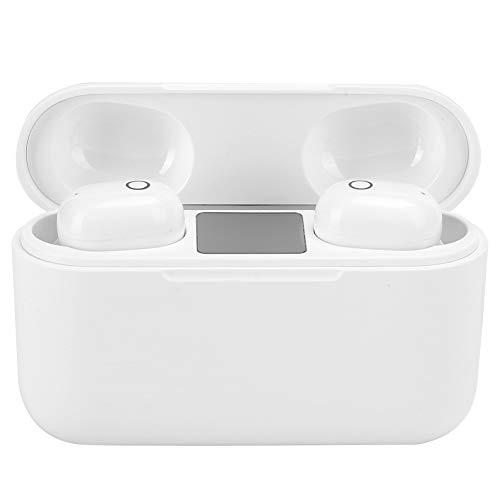 Bluetooth 5.0イヤホンワイヤレスイヤフォンバイノーラルノイズキャンセリングステレオインイヤーイヤホンヘッドフォンヘッドセット(スポーツトレーニング用)-プレミアムサウンドと簡単なペアリング(白い)