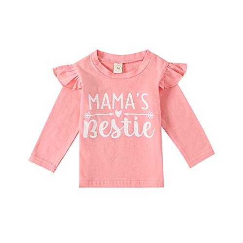 Mama's Bestie Baby Toddler Kids Girl Pink Arrow Letter T-Shirt Tee Tops Summer (18-24 Months, Pink Ruffle Mama's Bestie Shirt)