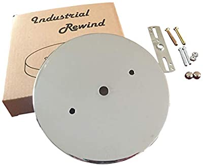 Industrial Rewind Ceiling Canopy Kit, Deep Single Hole Canopy (with mounting Holes) for Pendant Lighting (Chrome)