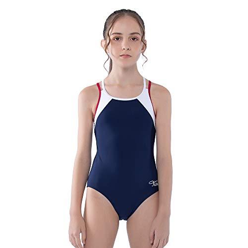 TIZAX Costume da Bagno Intero per Bambina e Ragazze Cinghie Incrociate Solide Rashguard UPF 50+ Asciugatura Rapida Blu Marino 7-8 Anni
