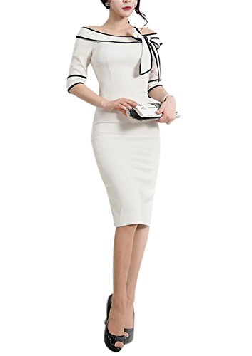 Work Dress for Women's 60s Business Suits Vintage Bowknot Pure Color Cocktail Bodycon Pencil 60sDress 172 (L, White)