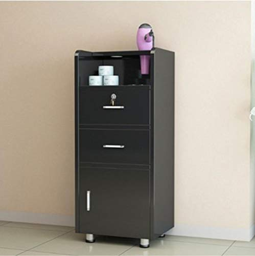 Salon Wood Cabinet Trolley met wieltje en slot, spa 3-laags ladekast met 2 drooggaten, Beauty Utility Cart