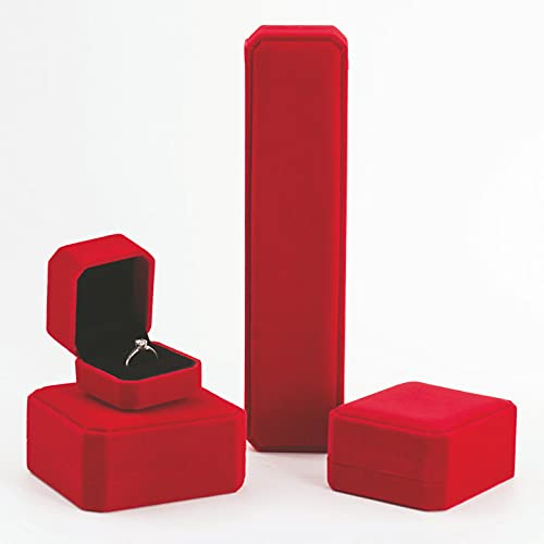 Caja de joyería pulsera anillo anillo terciopelo joyería almacenamiento colgante caja pendientes collar regalo-rojo,a