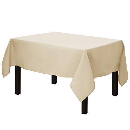 Gee Di Moda Square Tablecloth - 52 x 52 Inch - Beige Square Table Cloth for Square or Round Tables in Washable Polyester - Great for Buffet Table, Parties, Holiday Dinner, Wedding & More