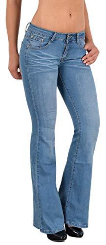ESRA Damen Jeans Bootcut Jeanshose Damen Schlaghose bis Übergröße B400