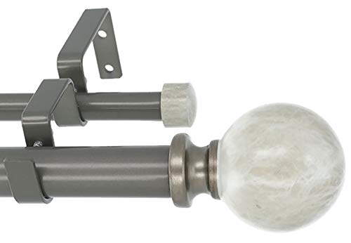 MERIVILLE 1-Inch Diameter Double Window Treatment Curtain Rod, Spanish White Marble Ball Finial, 84-inch to 120-inch Adjustable, Gunmetal