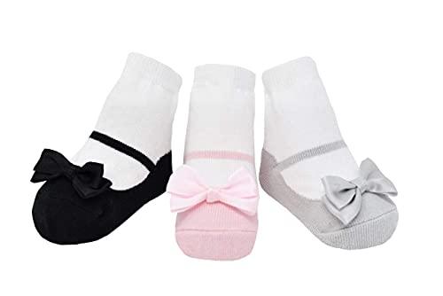 Baby Emporio 3 pares de calcetines para bebé niña - Suelas antideslizantes - Algodón suave - Cajita regalo - Efecto zapatos - 0-12 meses (0-12 Meses, LITTLE PRETTIES)