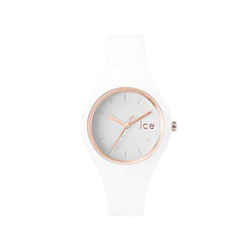 ICE-WATCH Ice Glam White Rose-Gold - Reloj Blanco para Mujer con Correa de Silicona, 000977 (Small)