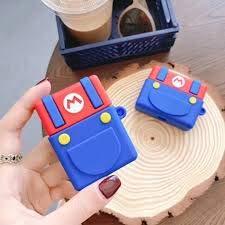 Funda protectora de silicona para Airpods Apple 1 y 2 fundas para auriculares Skin Air Pods con mosquetón y gancho (Apple Airpods 1 & 2, vestido Mario)
