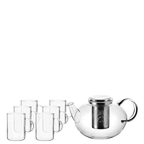 Leonardo Teeset Moon, handgefertigte Glas-Kanne mit Teesieb-Einsatz und 6 Tee-Gläsern, 2000-ml Füllvolumen, 7-teilig, 032842
